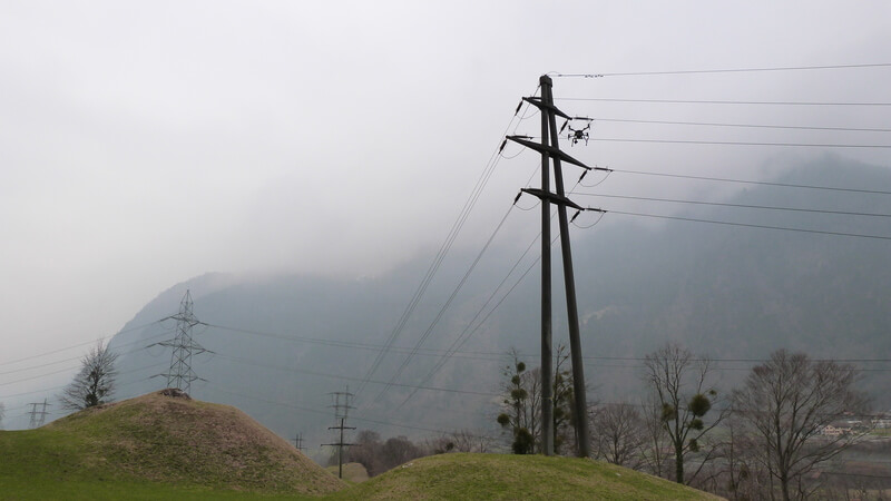 Inspections of pylons cannot always wait for good weather, particularly in mountainous regions