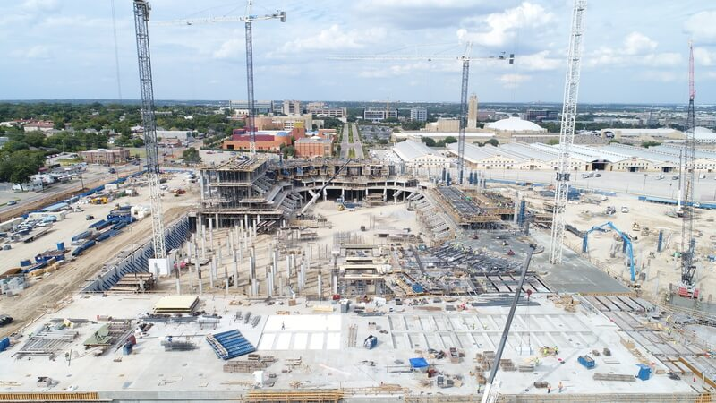 Drone overview of the Dickies Arena construction site