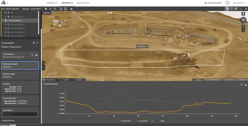 Visually tracking earthworks progress between two surveys using the Propeller Platform CrossSection tool