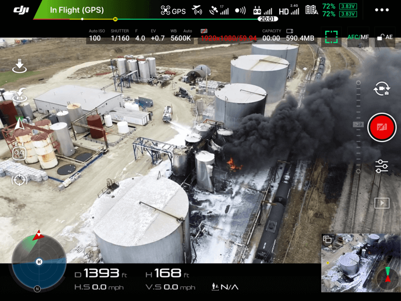 drone interface at facility fire
