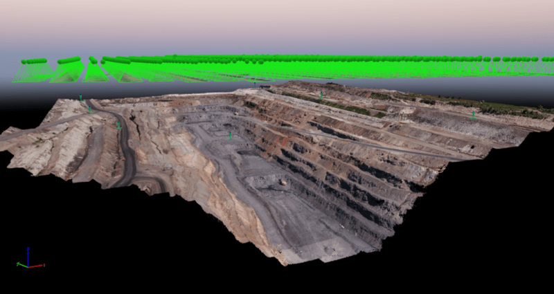 Aerial model of the mine